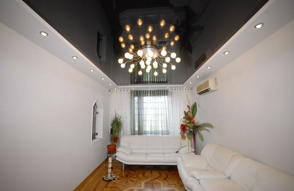 фото черно белый натяжной потолок фото